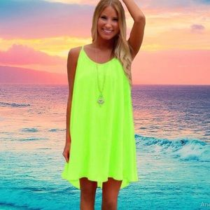 BOHO CHIFFON MINI DRESS GREEN